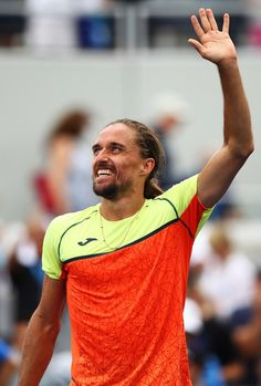 Alexandr Dolgopolov of Ukraine celebrates defeating Tomas Berdych of Czech Republic in their second round Men's Singles match on Day Four of the 2017 US Open at the USTA Billie Jean King National Tennis Center on August 31, 2017 in the Flushing neighborhood of the Queens borough of New York City.