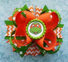 TMNT Hair Bow /Ninja Turtles Hair Bow/ Orange by DLovelyBOWtique, $10.00