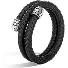 John Hardy Dot MD-LG Double Coil Black Woven Leather Bracelet ($495) ❤ liked on Polyvore featuring jewelry, bracelets, dot jewellery, circle jewelry, sterling silver bangles, wide bangle and sterling silver jewellery