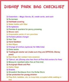 Walt Disney vacation planning tips -- What should I pack in my theme park bag? Get a free printable checklist for kids and adults of what to pack for a day at the Magic Kingdom and other Disney parks. Packing List For Disney, Disney World Packing, Disney World Vacation Planning, Disneyland Vacation, Walt Disney World Vacations, Trip Planning, Disney Bound, Disney Vacation Surprise, Disney Honeymoon