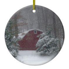 Red Barn in the Snow Ceramic Ornament