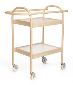 serving trolley/ bar cart is a highly functional and elegant movable furniture design. The bending wood and the shaping to the perfect round shape are based on our exquisite craftsmanship. The handle and the delicate edges of trays work Find Furniture, Unique Furniture, Table Furniture, Home Furniture, Furniture Design, Multipurpose Furniture, Multifunctional Furniture, Geometric Furniture, Serving Trolley