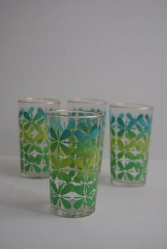 Mid Century Modern 8 oz Drinking Glasses
