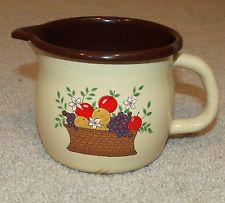 Vintage FTD Enamelware Mug/Cup/Pitcher/Creamer/Gravy Boat-Fruit Basket-Brown/Tan