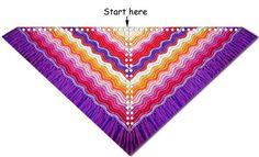 Feather and fan knit shawl diagram free pattern for any yarn, any weight