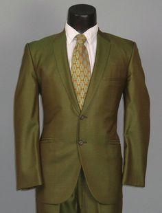 Vintage 1960s Mens True SHARKSKIN Green 2 Piece by jauntyrooster