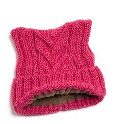 Maglia di lana bianco gatto orecchie cappello foderato in pile Questo  cappello di orecchie di gatto acb5d59a361c