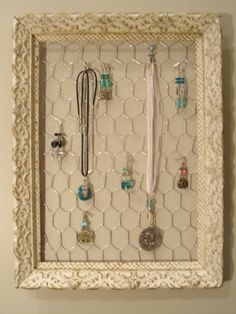 Hanging Jewelry Organizer Display Handpainted by ByTheBirds