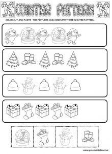 Christmas winter pattern worksheet for kids Winter is coming. Kids are waiting for the snow. When you are teaching winter season to your kids or students [. Pattern Worksheet, Worksheets For Kids, Kindergarten, Teaching, Winter, Christmas, Ideas, Winter Time, Xmas