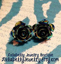 Black Shiny Rose Flower Post Earrings