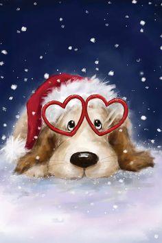 Merry Christmas Love, Christmas Art, Christmas Graphics, Christmas Animals, Christmas Greetings, Canvas Artwork, Canvas Art Prints, Dog Prints, Nail Art Noel