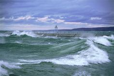 Stormy Seas with Lighthouse and Moon Pictures | Stormy Seas at Two Harbors Lighthouse
