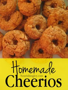 Homemade Cheerios are healthier than the commercial version and easy to make! This informative article includes two recipes and more information than you can shake a toy at. Cheerios Recipes, Cereal Recipes, Baby Food Recipes, Healthy Snacks, Healthy Recipes, Delicious Recipes, Homemade Goldfish Crackers, Toddler Finger Foods, Gluten Free Cereal