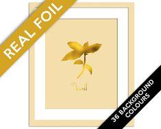 Basil Art Print - Gold Foil Print - Food Poster - Gold Foil Kitchen Wall Art - Food Art - Kitchen Art Print - Gift for Chef - Herb Art