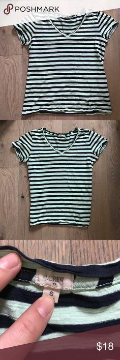 Jcrew striped navy blue mint green v Neck t shirt 100% cotton J. Crew Tops Tees - Short Sleeve
