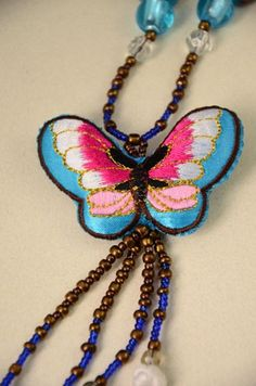 Embroidery butterfly sweater chain, the blue mood handcrafts