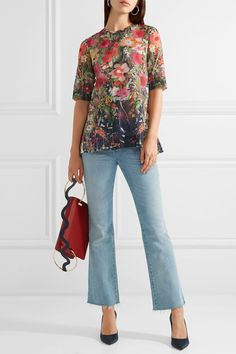 Lela Rose - Printed Cotton-voile Top - Red - US12