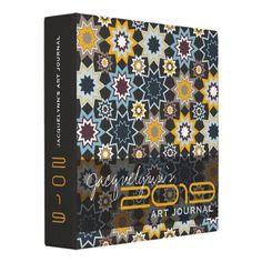Marrakesh Stars Geometric Pattern Custom Avery Binder by fatfatin from Zazzle