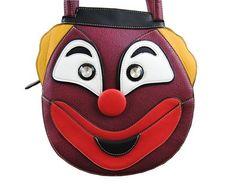 Novelty Clown Face Grab Handbag Burgundy Girls Kids Bag Xmas Present School NEW Clown Faces, Girls Accessories, New Outfits, Burgundy, Xmas, Handbags, Leather, Stuff To Buy, Women