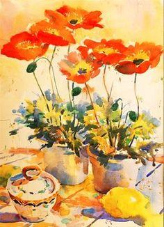 """Orange Poppies"" - Original Fine Art for Sale - © Nigel Fletcher"