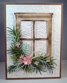 Paper: white, several green shades, kraft Ink: close to cocoa Accessories: poppy… Memory Box Cards, Window Cards, Embossed Cards, Marianne Design, Flower Cards, Creative Cards, Cute Cards, Greeting Cards Handmade, Scrapbook Cards
