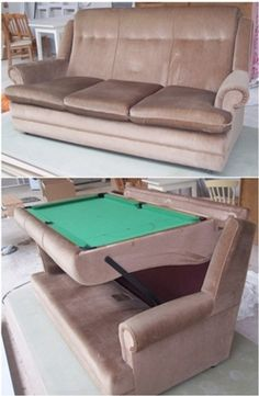 Retro Pool Table / Couch - neat! (basement / game room idea)
