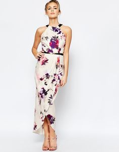 Image 1 ofLittle Mistress Wrap Front Midi Dress with Belt
