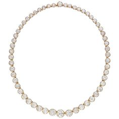 Important Diamond Riviere Necklace | From a unique collection of vintage more necklaces at https://www.1stdibs.com/jewelry/necklaces/more-necklaces/