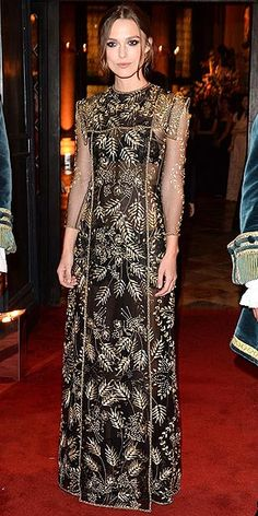 KEIRA KNIGHTLEY The actress's black-and-gold embellished Valentino gown (worn to the designer's ball in Venice) looks like it's from the Game of Thrones wardrobe closet. We're curious to see how you vote.