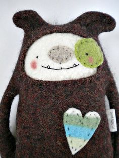 Dog Stuffed Animal Felted Wool Sweater Upcycled by sweetpoppycat