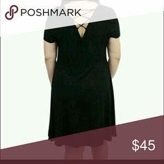 Black skater dresss Black fit and flare skater dress with lace up back. Relished Dresses