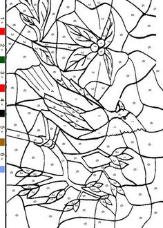 bird, color-by-number, pre-K, free printable coloring page Fall Coloring Pages, Adult Coloring Pages, Coloring Sheets, Free Coloring, Coloring Books, Colouring, Color By Numbers, Paint By Number, Color By Number Printable