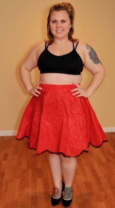 1950s Red & Black Petticoat Skirt