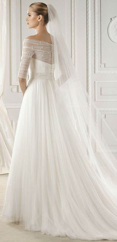 Three quarter long sleeve wedding dress
