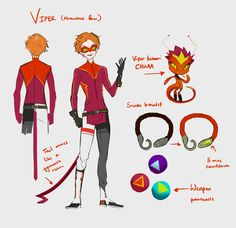 Day 2 of Akumasona Week : Viper + Chuaa SlickSnake when he's saved and becomes a miraculous holder, Viper. Still sticking back to those triangle shapes and lines around his design. I've only taken...