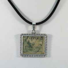 Vintage Espana Spain Canceled Postage Stamp Pendant by 12be, $14.50