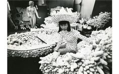 Yayoi Kusama with sculptures in her New York studio, 1963