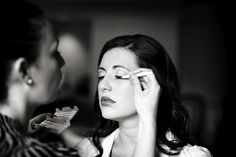Abby gets the final touches on her make-up.