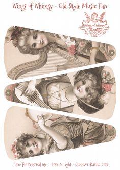 Wings of Whimsy: 1906 May Bowley Old Style Music Ladies abanico regalo postal. Vintage Labels, Vintage Ephemera, Vintage Cards, Vintage Gifts, Vintage Paper, Vintage Images, Printable Designs, Printable Art, Decoupage Vintage