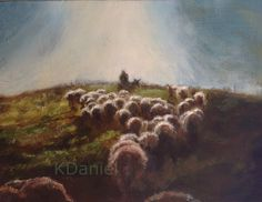 Sheep and shepherd and sunlight- original oil painting- Keith Daniel.  Signed edition prints available.  http://www.ebay.com/itm/252218536804?ssPageName=STRK:MESELX:IT&_trksid=p3984.m1555.l2649