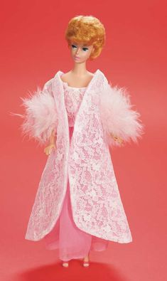 """The Fabulous Fifties - Modern Dolls: 380 Blonde Bubble-Cut White Ginger Barbie in """"Pink Moonbeams"""" Ensemble by Mattel"""