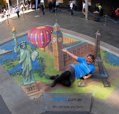 3D chalk art Big Ben, Statue of Liberty, Eiffel Tower, travel.com.au by Jenny McCracken and Anton Pulvirenti