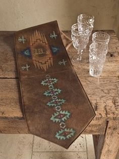 Ordinaire Pendelton Handcrafted Faux Leather Table Runner, ...