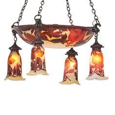 Gallé cameo glass chandelier, France.