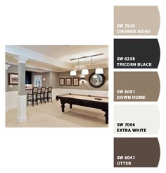 Basement colors Paint colors from Chip It! by Sherwin-Williams. Like this color combo.  Down Home - paint color for kitchen island & window seat