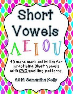 TONS of short vowel practice with CVC words. 40 activities that your kiddos will love. Vowel Activities, Word Work Activities, Vowel Worksheets, Language Activities, Phonics Words, Cvc Words, Vowel Practice, Word Patterns, Kindergarten Language Arts