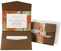 Pocket Fold Invitations Wedding Card