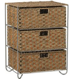 This 3 Drawer Wicker Storage Chest is an excellent decorative storage drawer unit for adding stylish storage space to your bedroom bathroom or office. Featuring sturdy woven construction from natural rattan and seagrass this wicker storage chest has three versatile spacious drawers that easily slide in and out of the s