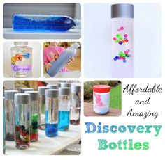 I am joining a few of my fellow bloggers today to bring you some new ideas for making Affordable and Amazing Discovery Bottles!    I have been making a new collection of discovery bottles this year which I call Literacy Discovery Bottles. I consider this set of discovery
