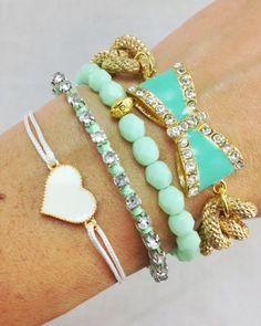 Mint Dreams Glam Bow Bracelet Stack by dAnn on Etsy, Cute Jewelry, Modern Jewelry, Jewelry Accessories, Fashion Accessories, Handmade Accessories, Diy Jewelry, Cute Bracelets, Jewelry Bracelets, Jewelery